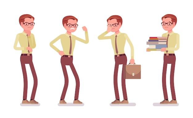 Ilustração de emoções negativas de funcionário masculino Vetor Premium