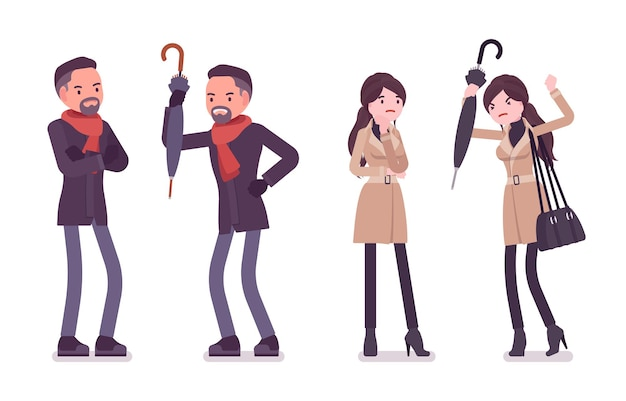 Ilustração de emoções negativas de homem e mulher elegantes vestindo roupas de outono