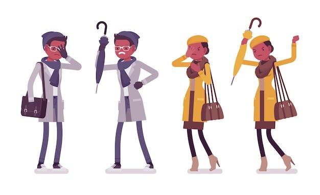 Ilustração de emoções negativas de jovem negro elegante e mulher
