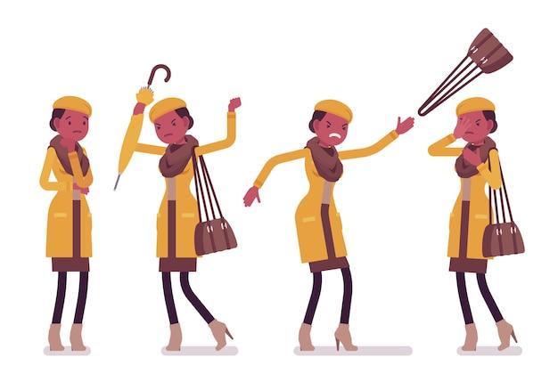 Ilustração de emoções negativas jovem negra elegante vestindo roupas de outono