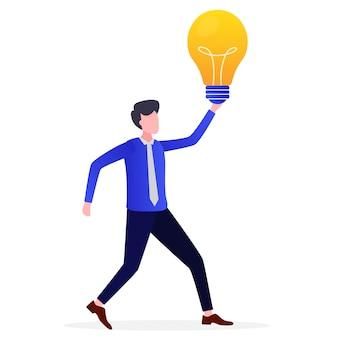 Ilustração de empreendedores recebe idéias brilhantes