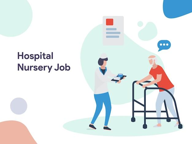 Ilustração de emprego de berçário de hospital