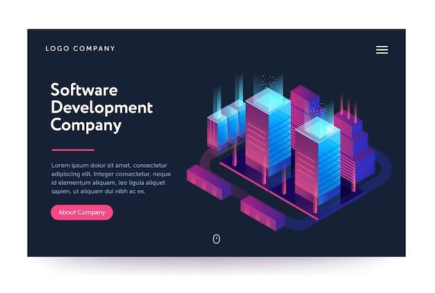 Ilustração de empresa de desenvolvimento de software