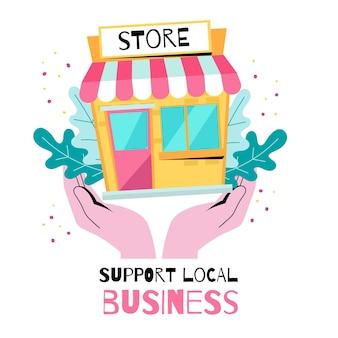 Ilustração de empresa local de apoio