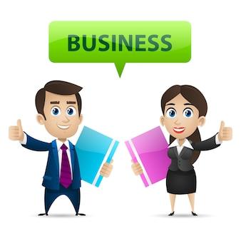 Ilustração de empresário e mulher de negócios mostrando os polegares para cima, formato eps 10
