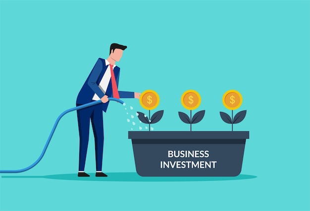Ilustração de empresário regando árvores de dinheiro