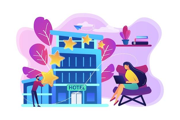 Ilustração de empresários com estrelas de avaliação