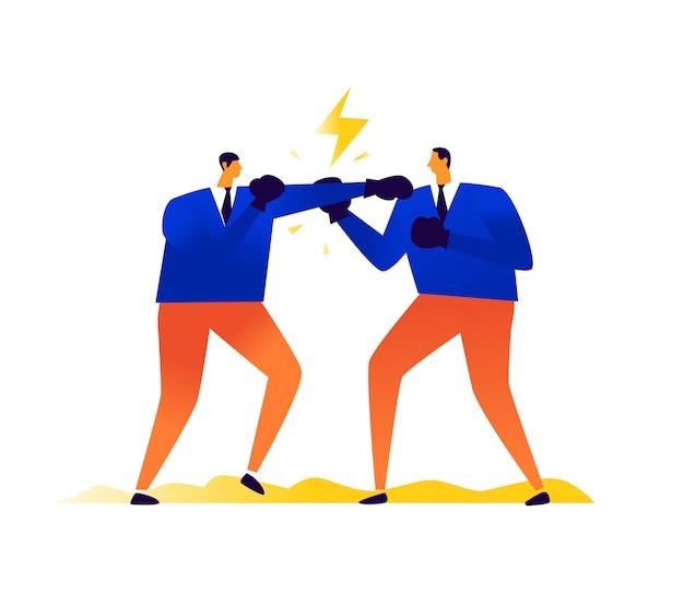 Ilustração de empresários de boxe. concorrência nos negócios. homens se batem. conflito, disputa e disputa entre as pessoas.