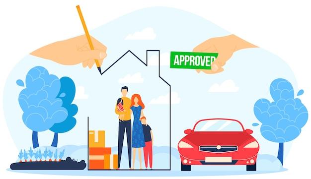 Ilustração de empréstimo hipotecário aprovado.