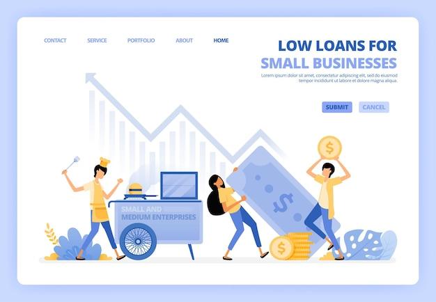 Ilustração de empréstimos a juros baixos para startups