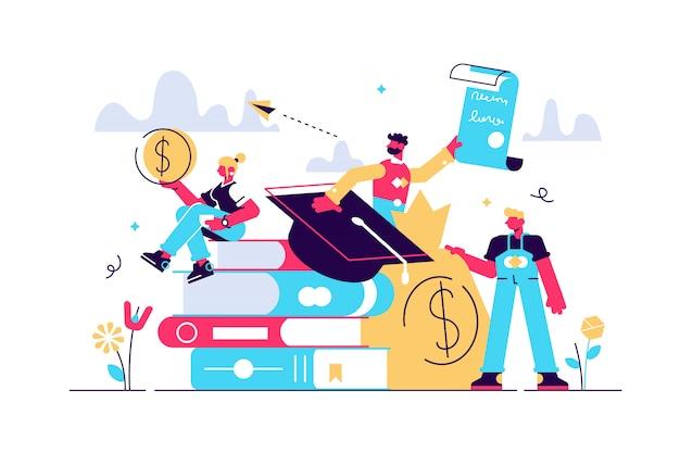 Ilustração de empréstimos de estudante. estudo minúsculo conceito de pessoas de finanças.