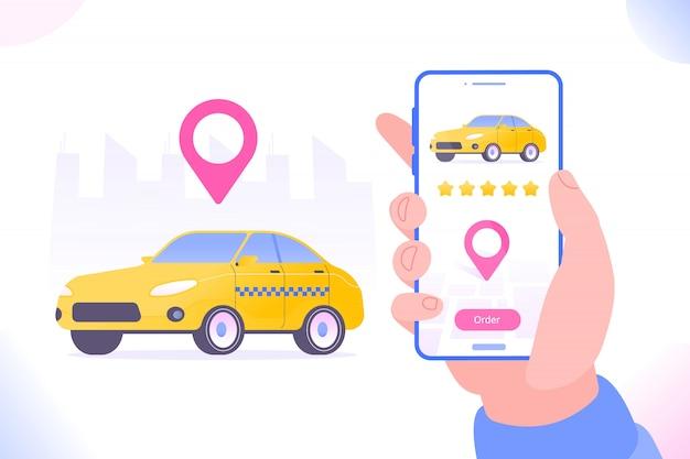 Ilustração de encomenda de táxi