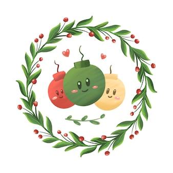 Ilustração de enfeites de bolas de natal bonitos em estilos de desenho animado e desenhados à mão