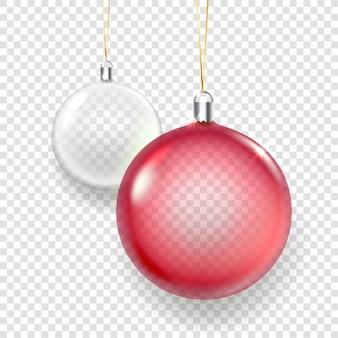Ilustração de enfeites de natal de vidro brilhante vermelho e branco isolada em fundo transparente
