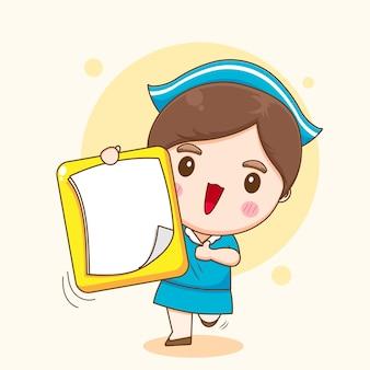 Ilustração de enfermeira fofa com personagem de tarefa vazia