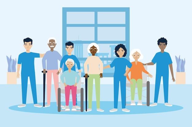 Ilustração de enfermeiras e idosos com deficiência
