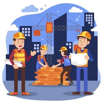 Ilustração de engenharia e construção plana