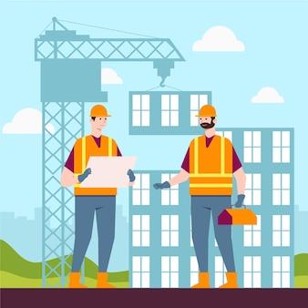 Ilustração de engenharia e construção Vetor Premium