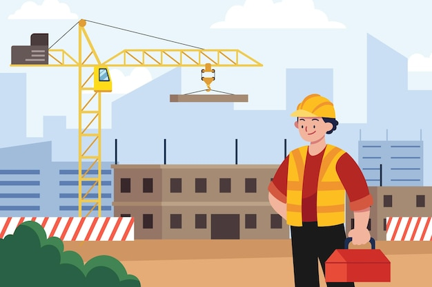 Ilustração de engenharia e construção