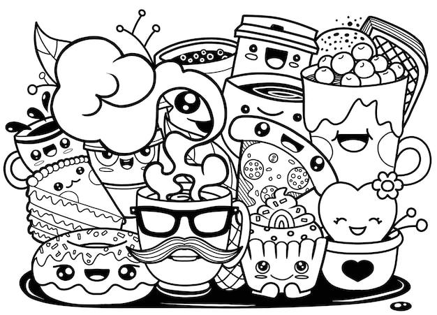 Ilustração, de, engraçado, caricatura, doodle, xícara café