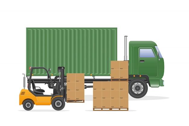 Ilustração de entrega de caminhão de carga. empilhadeira carrega caminhão.