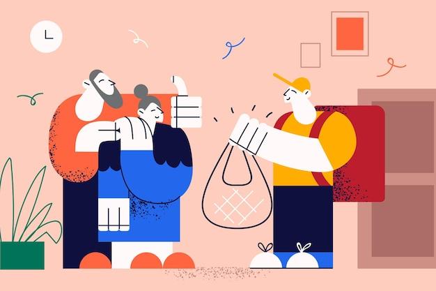 Ilustração de entrega de comida fresca para idosos