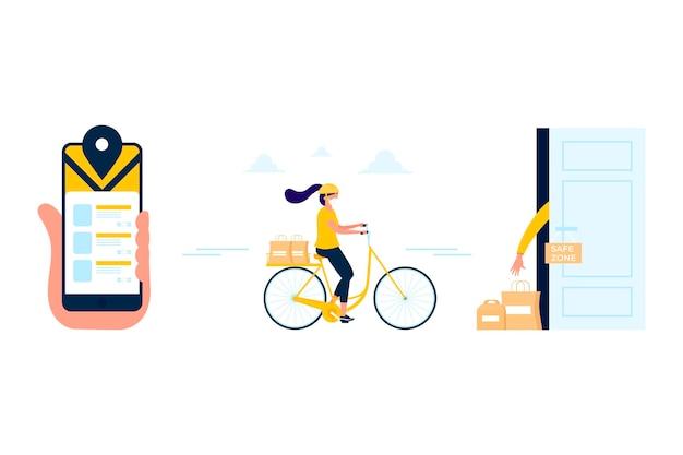 Ilustração de entrega de comida segura