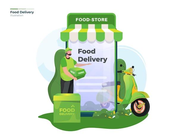 Ilustração de entrega de pedido de comida online