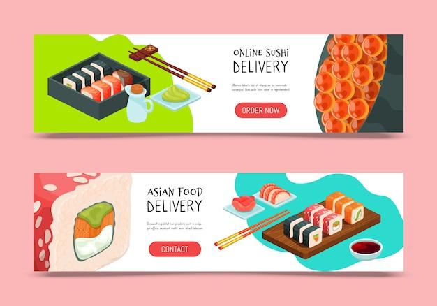 Ilustração de entrega de sushi. entrega de modelo de design do banner de serviço on-line. restaurante oferece comida japonesa.