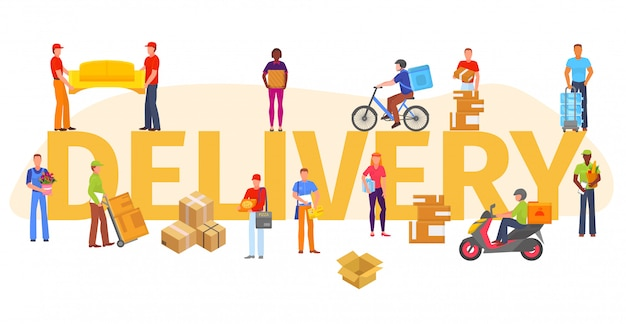 Ilustração de entrega isolada, trabalhadores de serviço de entrega e vários produtos.