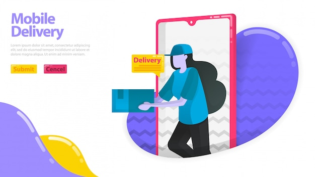 Ilustração de entrega móvel. mulheres que entregam mercadorias. courier saindo do smartfone móvel. pedido de ordem de entrega.