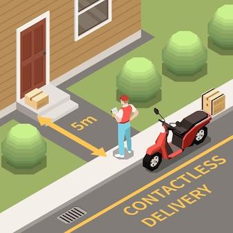 Ilustração de entrega sem contato
