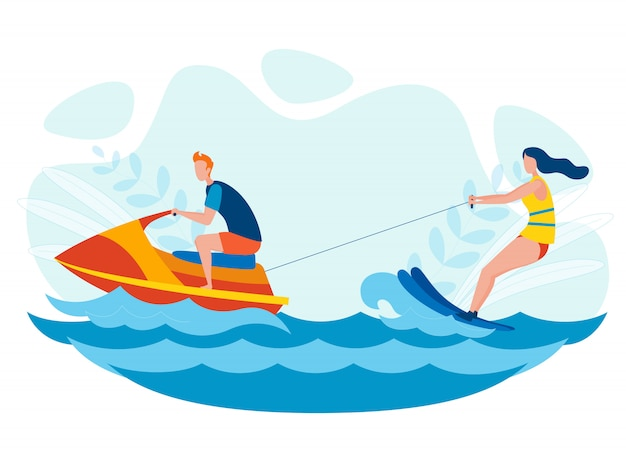 Ilustração de entretenimento de esqui aquático