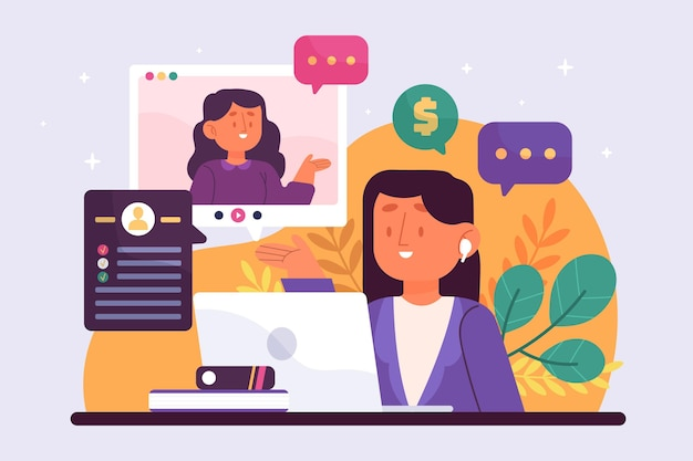 Ilustração de entrevista de emprego online