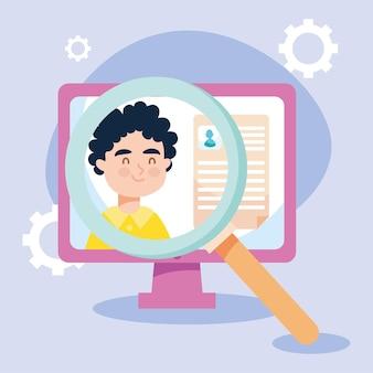 Ilustração de entrevista de emprego virtual com computador e lupe