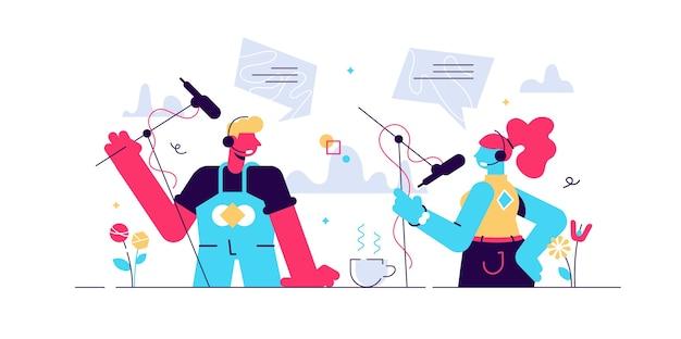 Ilustração de entrevista de podcast. estúdio de rádio com microfones conceito de pessoas pequenas plana. cena do processo falante da transmissão online com diálogo de discussão do jornalista. fluxo de voz de áudio da internet