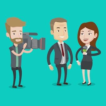Ilustração de entrevista de tv.