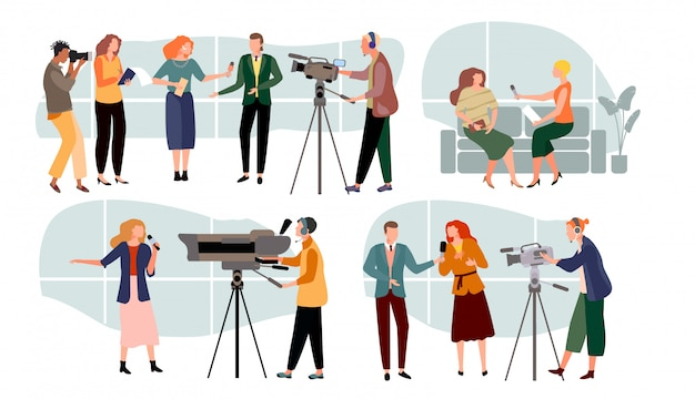 Ilustração de entrevistas de jornalista, personagem de apresentadores de notícias dos desenhos animados, pessoas com microfone, mídia de massa definida em branco