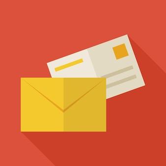 Ilustração de envelope de correio de escritório de negócios plana com sombra longa. voltar à ilustração em vetor escola e educação. objeto de e-mail colorido de estilo simples. vida comercial