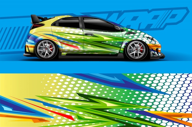 Ilustração de envoltório de adesivo de carro