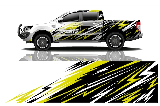 Ilustração de envoltório de decalque de carro caminhão