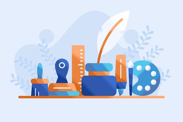 Ilustração de equipamento de educação artística
