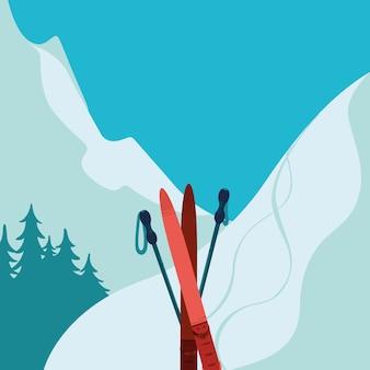 Ilustração de equipamento de esqui e montanhas