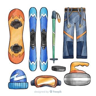 Ilustração de equipamento de esqui