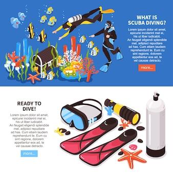 Ilustração de equipamento de informação de cursos de mergulho