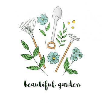 Ilustração de equipamento de jardim colorido com flores. ícone de pá, ancinho, pá. desenhos animados estilo primavera ou verão imagens isoladas no fundo branco. conceito temático de jardinagem.