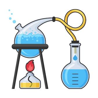 Ilustração de equipamento de laboratório e ciência de química