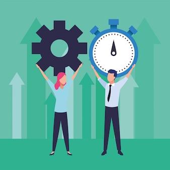 Ilustração de equipamento de levantamento e cronômetro de trabalho em equipe jovem casal de negócios