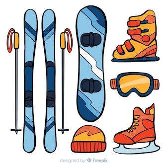 Ilustração de equipamento de snowboard