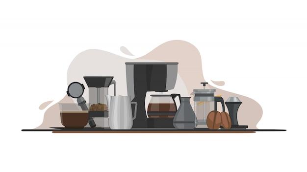 Ilustração de equipamentos de café